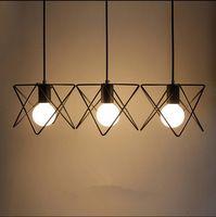 Vintage éclairage suspension métal M cage abat-jour suspendus luminaire