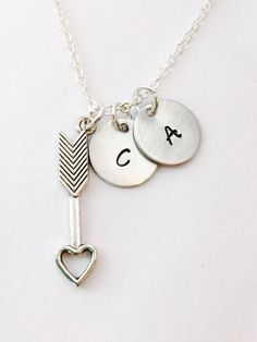 Couples Necklace, Anniversary Gift, Arrow Necklace, Personalized Gift Couples Necklace with Arrow Charm Love Necklace