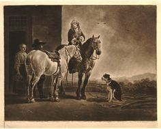 Museum number 1877,1013.219  Description Recto  A man on horseback, holding a glass and looking to left at another, who stands beside his ow...