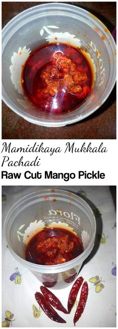 Mamidikaya Mukkala Pachadi – Raw Cut Mango crushed by mixing spices in a traditional method and pickled with generous amount of oil.