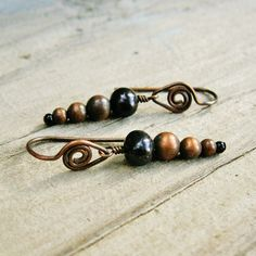 Swirled Pearly Pointers  antiqued copper wire by BearRunOriginals, $14.00