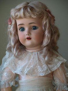 Beautiful Simon and Halbig K&R German Child Doll with Lovely Antique Dress