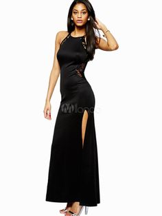 Charming Black Crewneck Cut Out Sleeveless Maxi Dress for Woman - Milanoo.com