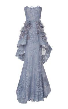 Strapless Peplum Gown by MARCHESA for Preorder on Moda Operandi