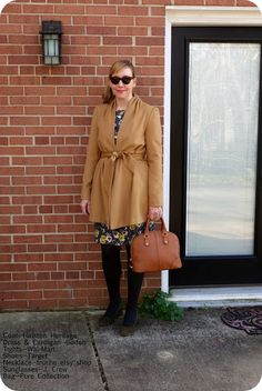 46d0aad95e My Superfluities Halston Heritage Tie Belt Coat with Shoulder Pleating  Boden Floral Dress Pure Collection Bag and Target Tights