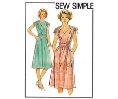 Style 2323 vintage sewing pattern ©1978   Sew Simple - Misses Dress:   Pull-over-the-head dress, with side seam pockets, has extended shoulders rouched with self fabric ties and elasticized waist. View 1, worn with self fabric tie belt, has V shaped neckline. View 2 has boat shaped neckline. THREE copies available, choose size from drop-down menu. All 3 copies are cut and complete, envelopes have shelf wear.  Size 10:  Bust 32 1/2 inches / 83 cm Waist 25 inches / 64 cm  Size 12:  Bust 34…