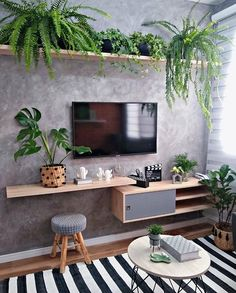 design ideas for living rooms is interior design design ideas of living room design firm design for office design ideas for living rooms for interior design design software for free Living Room Tv, Apartment Living, Home And Living, Living Room With Plants, Modern Living, Tv Wall Decor, Wall Art, House Plants Decor, House Rooms