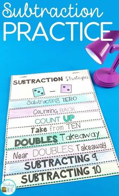 Strategies That Will Make Subtraction Easy Teach your students subtraction strategies.Teach your students subtraction strategies. Teaching Subtraction, Subtraction Strategies, Subtraction Activities, Teaching Math, Math Activities, Addition Strategies, Teaching Time, Teaching Technology, Numeracy