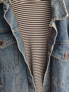 Weekend casual. Fellas you can't go wrong with staple stripes and denim pieces.