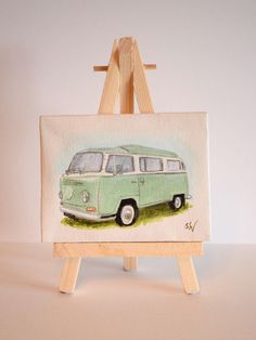 Volkswagen Camper Van Hand Painted Mini Canvas,  Green, 7 x 9 cm #campervan #miniart #volkswagen #vw #handpainted