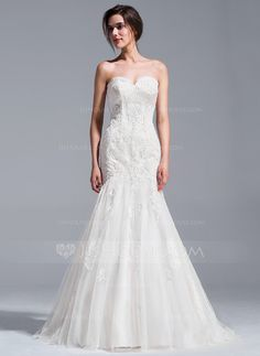 Trumpet/Mermaid Sweetheart Court Train Lace Up Strapless Sleeveless Church General Plus No Spring Summer Fall Ivory Lace Wedding Dress