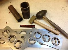 custom dimple dye style speed holes using a hammer and pieces of pipe… Metal Working Tools, Metal Tools, Metal Art, Metal Projects, Welding Projects, Metal Crafts, Sheet Metal Fabrication, Welding And Fabrication, Homemade Tools