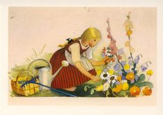 Martta Wendelin - Still Life With Flowers. Art And Illustration, Fields In Arts, Girl Face Drawing, Doodle Drawings, Vintage Art, Vintage Books, Botanical Prints, Garden Art, Martini