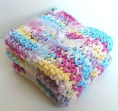 Crochet Washcloths Dishcloths  Set of 2  Pastels