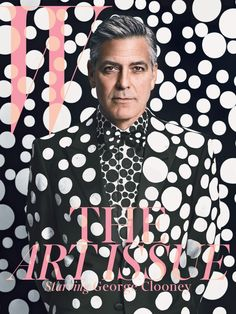 George Clooney on the cover of W Magazine's Annual Art issue in a Giorgio #Armani suit, shirt, and bow tie customized by Yayoi Kusama. - He looks like the mad hatter.
