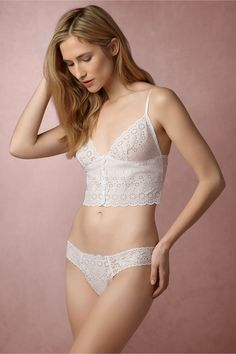 lace honeymoon lingerie for your romantic getaway | Seville Eyelet Camisole & Thong from BHLDN