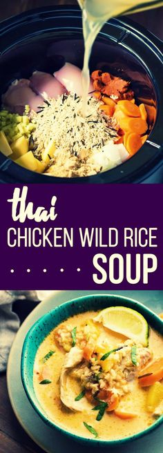 - Thai Slow Cooker Chicken and Wild Rice Soup -  This Thai Slow Cooker Chicken and Wild Rice Soup is a twist on a classic comfort recipe.  A bit spicy, savory and sweet, and completely comforting!  via: @sweetpeasaffron