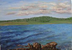 """Купить Картина маслом """"У озера"""". - голубой, картина маслом, картина в подарок, картина на холсте"""