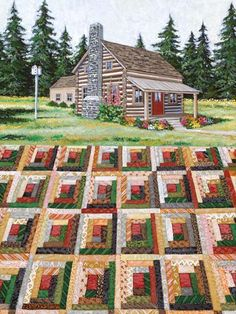Rebecca Barker Quiltscapes - Log Cabin. Log cabin quilts are also my favorite quilts!