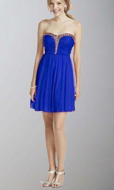 Short Blue Strapless Rhinestone Prom Dress KSP434