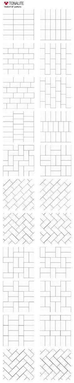 "Tonalite 20 creative ways to lay 4""x8"" tile. subway tiles, metro tiles, backsplash, piastrelle, layout, patterns, schemi di posa, walltiles, floortiles, pavimento, rivestimento, ceramica, ceramiche, piastrelle, made in italy with passion, ceramics of italy, italian tiles, italian style, home, design, homedesign, homedecor, interiordesign, arredamento, architettura, casa, architetto"