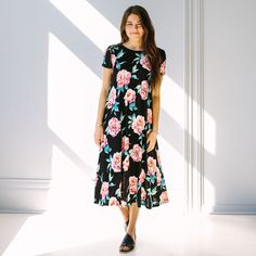Richland Floral Swing Dress - Black
