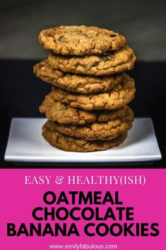 This healthy-ish Easy Banana Oatmeal Chocolate Chip Energy cookie recipe is amazing for hiking, camping or just a healthy snack. This recipe only requires one bowl to mix the batter, the cookies store for days or can be frozen and this batter can even be made into muffins! Everybody will love these cookies and no one will know they are actually pretty good for you. They also give a great burst of good energy just when you need it. #oatmealcookies, #healthycookies, #energycookies,