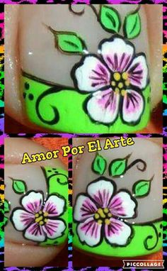 Pedicure Designs, Toe Nail Designs, Nail Polish Designs, Toe Nail Art, Acrylic Nails, Mani Pedi, Manicure, Cute Pedicures, Flower Nails
