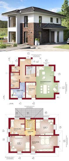 Stadtvilla modern mit Klinker Fassade & Walmdach Architektur - Haus bauen Grundriss Fertighaus Edition 2 V6 Bien Zenker Hausbau Ideen - HausbauDirekt.de