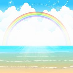 Free Image on Pixabay - Ocean Background, Rainbow, Sea Free Pictures, Free Images, Textured Background, Rainbow Background, Ocean Backgrounds, Kids Artwork, Clouds, Display Ideas, Illustration