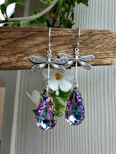 Dragonfly charms, Lavender purple Swarovski crystals, sterling silver earrings. -  - McKee Jewelry Designs - 2