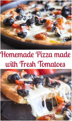 There's nothing like Homemade Pizza, especially when it is made with fresh tomatoes.  A delicious pizza made with homemade pizza dough or even store bought dough.  Top it with shredded mozzarella and some sliced black olives. #pizza #homemadepizza #Italianfood #dinner #recipe via @https://it.pinterest.com/Italianinkitchn/