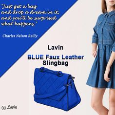 Get Your Best #Fashion #Ladies_Handbags Here.  You wont miss it again, right? Lavin Blue Faux Leather Slingbag...  Shop here.