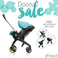 DOONA SALE!!!  . Shop the Doona car seat stroller now and receive 3 FREE accessories - a $90 value! Included is the raincover, snap-on storage, and sunshade! Hurry - very limited quantities!  . Questions? Give us a call at 732-905-3716! We're here M-Th, 9am-5pm EST and F - 9am-1pm EST.   http://www.pishposhbaby.com/doona.html