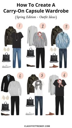 How to make a carry-on capsule wardrobe (Spring Edition) + outfits - classy and yet . - How to create a carry-on capsule wardrobe (spring edition) + outfits – classy yet trendy - Travel Capsule, Travel Wear, Travel Style, Travel Chic, Travel Dress, Travel Fashion, Capsule Outfits, Fashion Capsule, Classy Yet Trendy