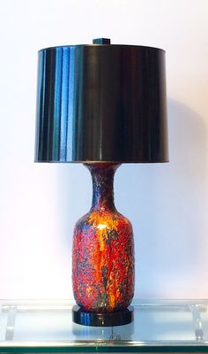 1960s 70s West German Fat Lava Ceramic Floor Lamp