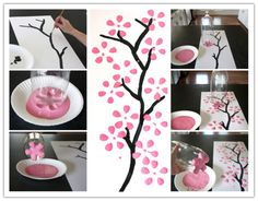 How To Paint Cherry Blossom Canvas Art With Recycled Soda Bottle | DIY Tag