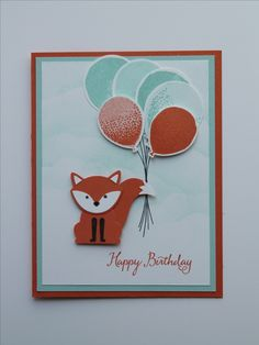 July 2016 Stampin' Up! Workshop Birthday Card. Supplies needed: Calypso Corral, Pool Party, & Whisper White Cardstocks. Calypso Corral, Pool Party, and Memento Inks. Foxy Friends and Balloon Celebration stamp sets, Balloon Bouquet and Fox Builder Punches. Dimensionals and adhesives.
