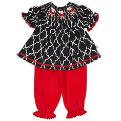 Baby Girls Black Lattice Corduroy Santa Smock Bloomer Set