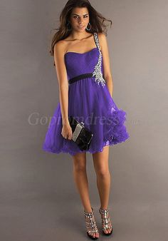 one shoulder tulle short purple homecoming dress