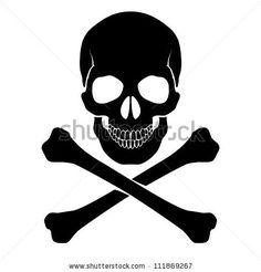 Skull and crossbones - a mark of the danger  warning - stock vector