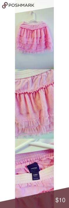 Baby Gap Pink Ruffled Skirt Pink Ruffled Skirt with elastic waist. Shell is 100% polyester. Lining is 100% cotton. Baby Gap Bottoms Skirts