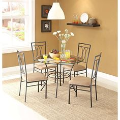 Dining Set Metal Chairs Kitchen Table Furniture Modern Wood 4 Breakfast 5 Piece Stylish Apartment Home Side Table size 42L x 42W x 30H Chair size 185L x 185W x 39H ** Click image to review more details. (This is an affiliate link and I receive a commission for the sales)