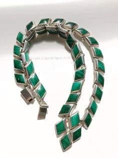 Vintage Mexican 950 silver malachite necklace   TAXCO   green stone   protection, wealth   geometric modernist   Native American indigenous by StaceyFayDesigns on Etsy https://www.etsy.com/listing/547915841/vintage-mexican-950-silver-malachite