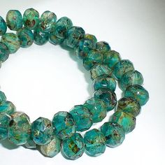 Picasso Czech Glass Beads 6 x 8mm Aqua Blue Green by royalmetals, $3.30