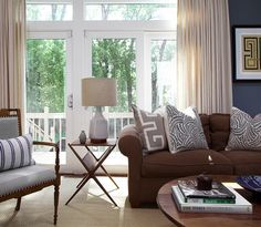 I love this brown + gray color palette!  It reminds me of our living room #unexpected