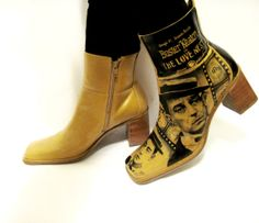 Boots hand painted grunge Buster Keaton leather Women's Size 9 1/2 on Etsy, $119.00