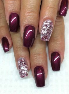 """Deep wine with """"dew drop"""" nail art with coral polish and bronze sparkles Related Postscute & easy nail art designs white nail art designs summer nail art … Continue reading 70 + Cute Simple Nail Designs 2017 → Cute Simple Nails, Cute Nails, Pretty Nails, My Nails, Polish Nails, Simple Art, Red Polish, Zebra Nails, Tribal Nails"""