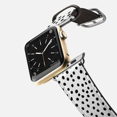 Ink Dots - Black on White Band - Saffiano Leather Watch Band