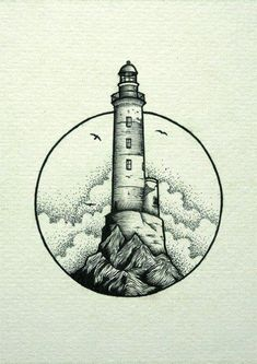 Ideas Art Drawings Black And White Ink Tattoo Drawings, Cool Drawings, Body Art Tattoos, Tattoo Linework, Sketch Tattoo, Amazing Drawings, Small Tattoos, Lighthouse Drawing, Sailboat Drawing